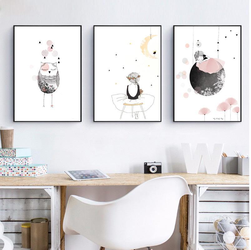 Satın Al çocuklar Kız Poster çiçekler Ile Sevimli Duvar Sanat Baskı