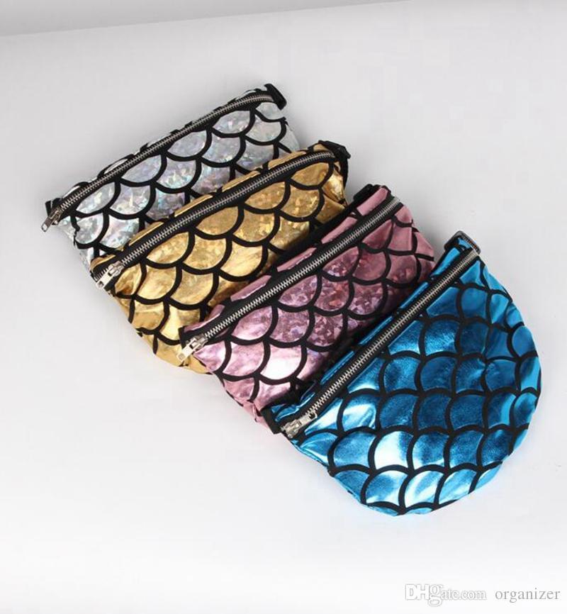 Özel Logo Moda Mermaid Çanta Crossbody El Çantaları Kozmetik Makyaj çantası Çok Fonksiyonlu Parlak Seyahat Kozmetik Bel Çantası Için Parti 4 renkler