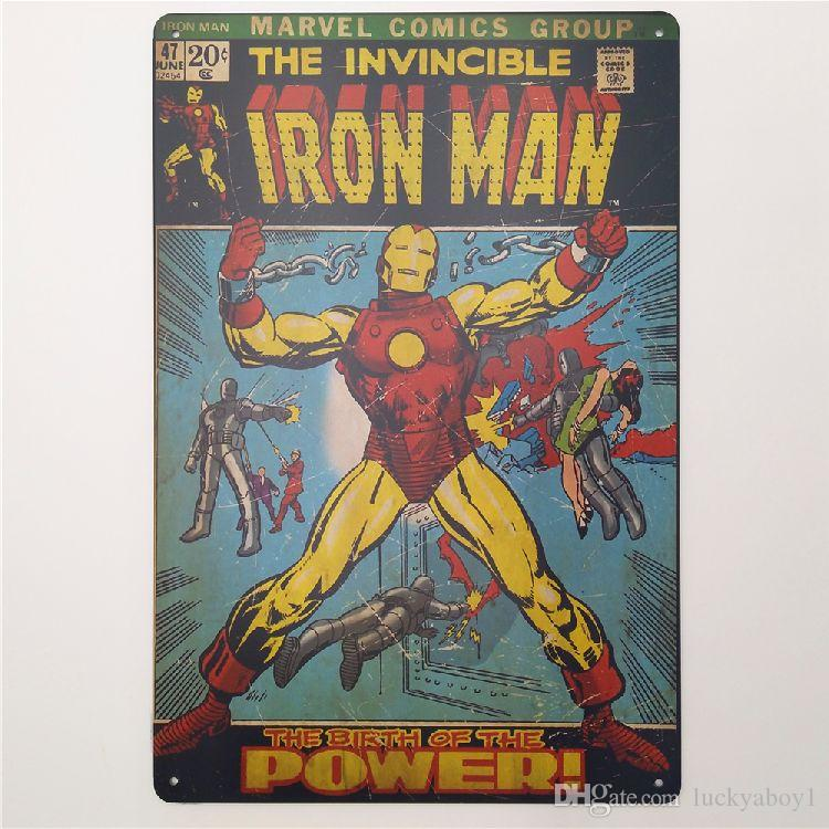Iron Man Vintage Metal Signs Home Decor Cafe