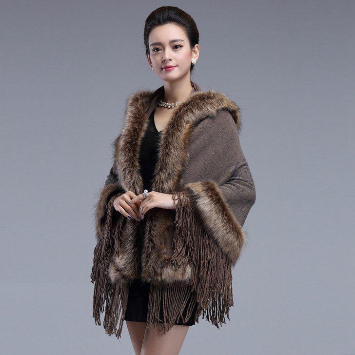 # 2921 2018 Fale xales de pele de raposa Ponchos e capas Casaco feminino Moda Borla estilo britânico Cachecóis e estolas mulheres de luxo