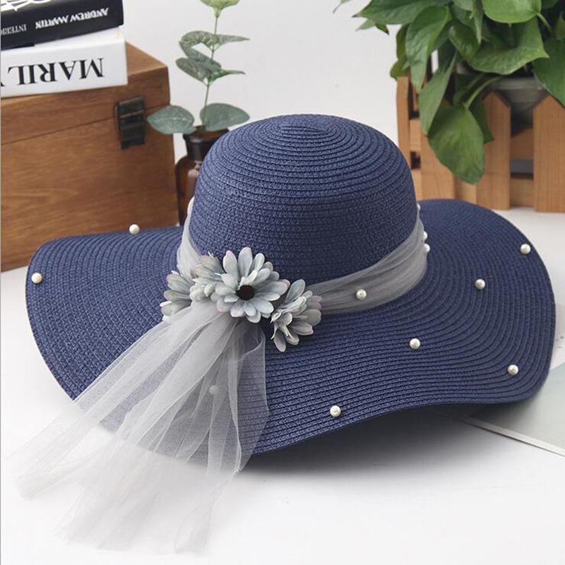 d728bfb2 Fashion Flower Woman Sun Hats Foldable Wide Wave Brim Hand Made ...