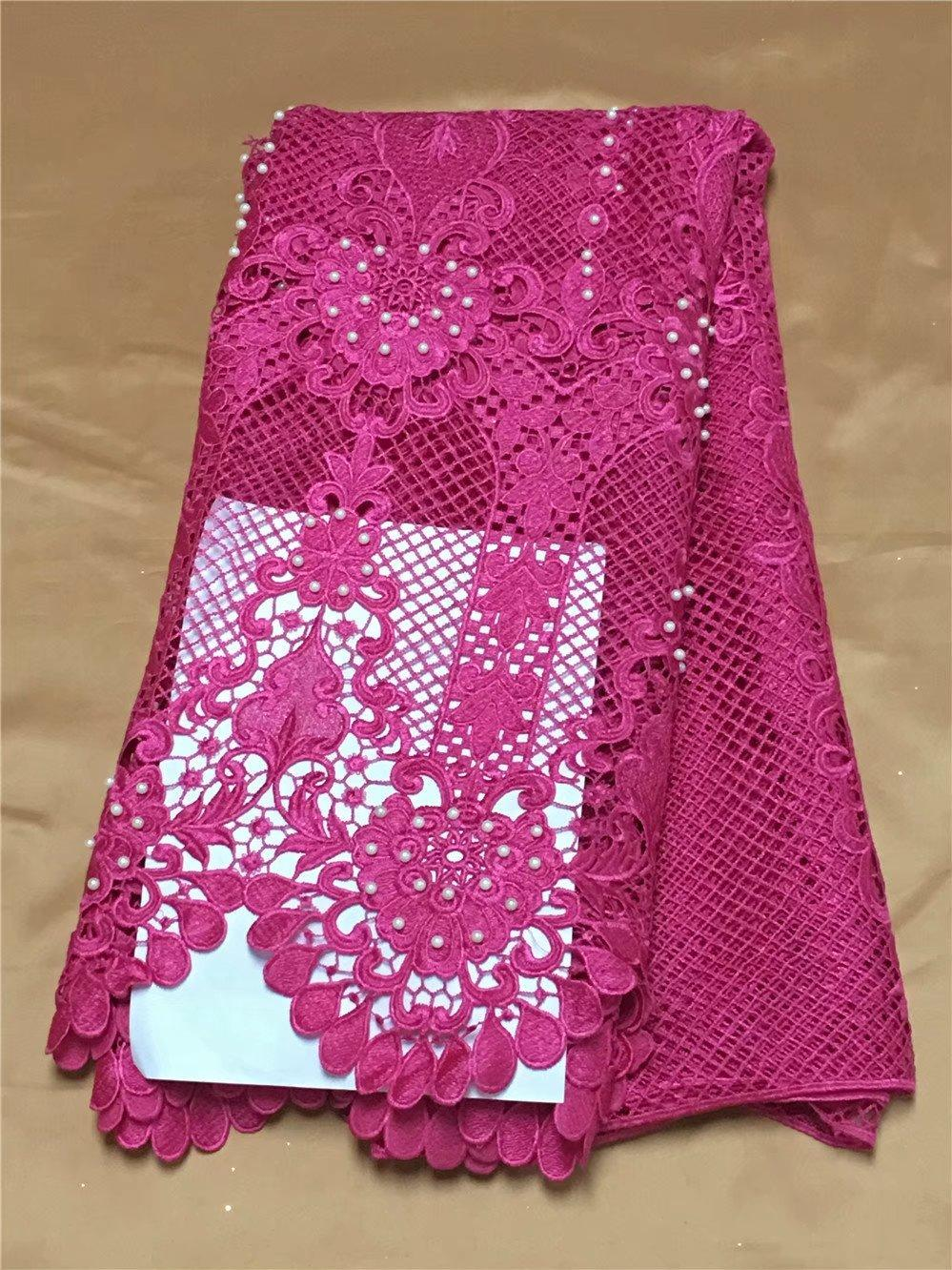 The latest red embroidery 3D dress, water-soluble bead lace, African French chiffon, high quality wedding dress 5yardYDH23