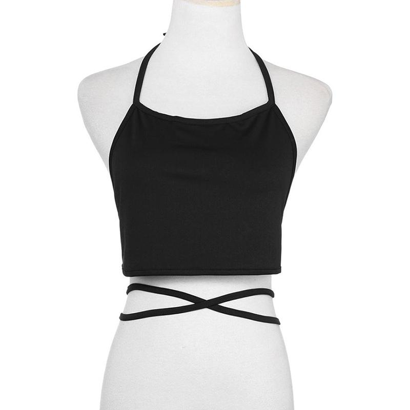 2951d37f043 2019 Sexy Halter Neck Solid Women Crop Tops Strap Short Tube Top ...
