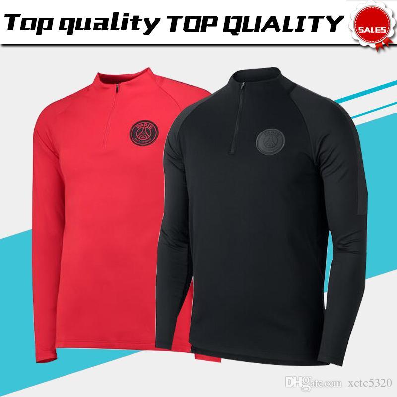 best sell 3cc9c 305f5 2019 New Logo PSG Long Sleeve Jacket 1819 Paris Saint  Germain Black ... da96a6a71d620