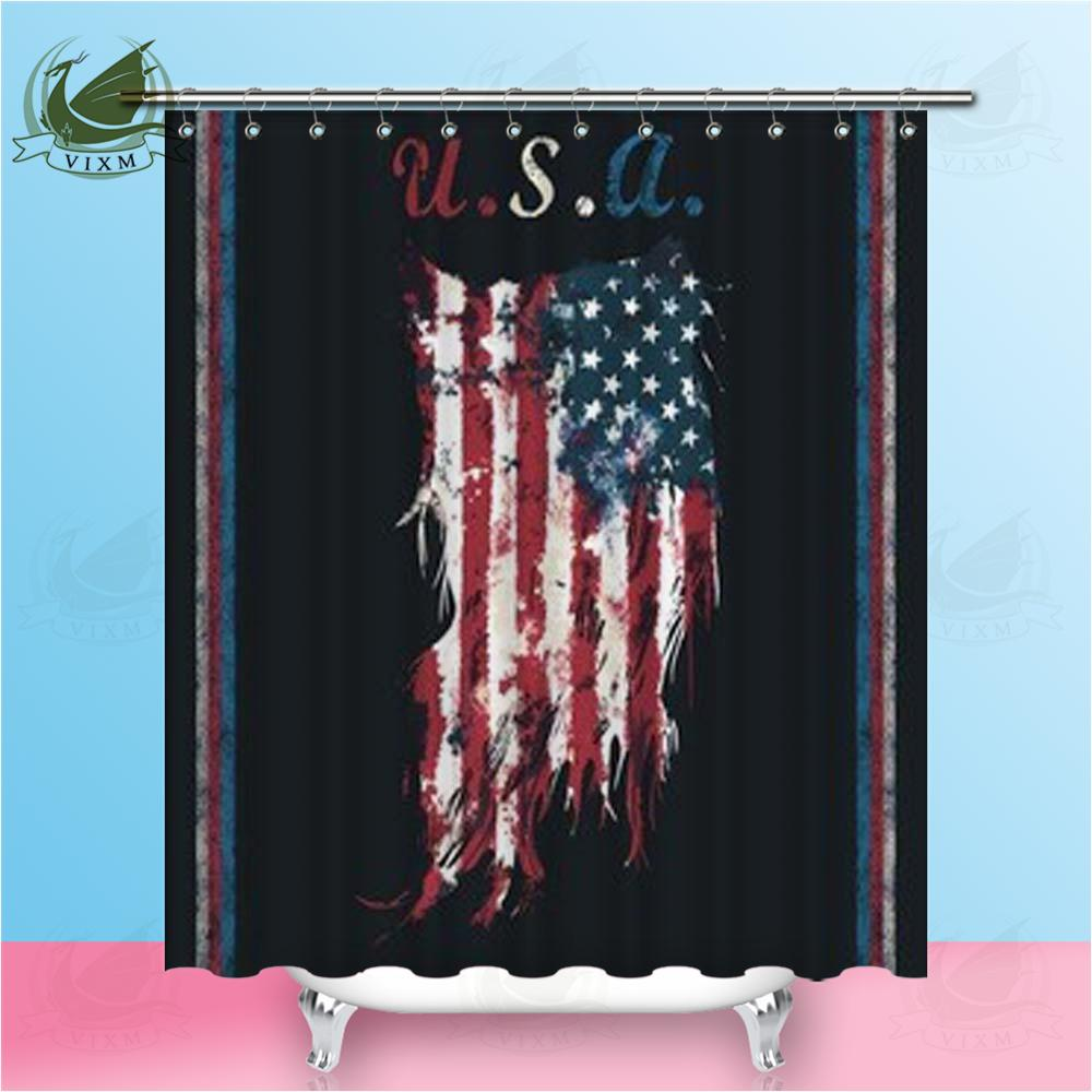 Vixm USA Torn Banner Fashion T Shirt Graphic Design Shower Curtains Polyester Fabric For Home Decor British Flag American