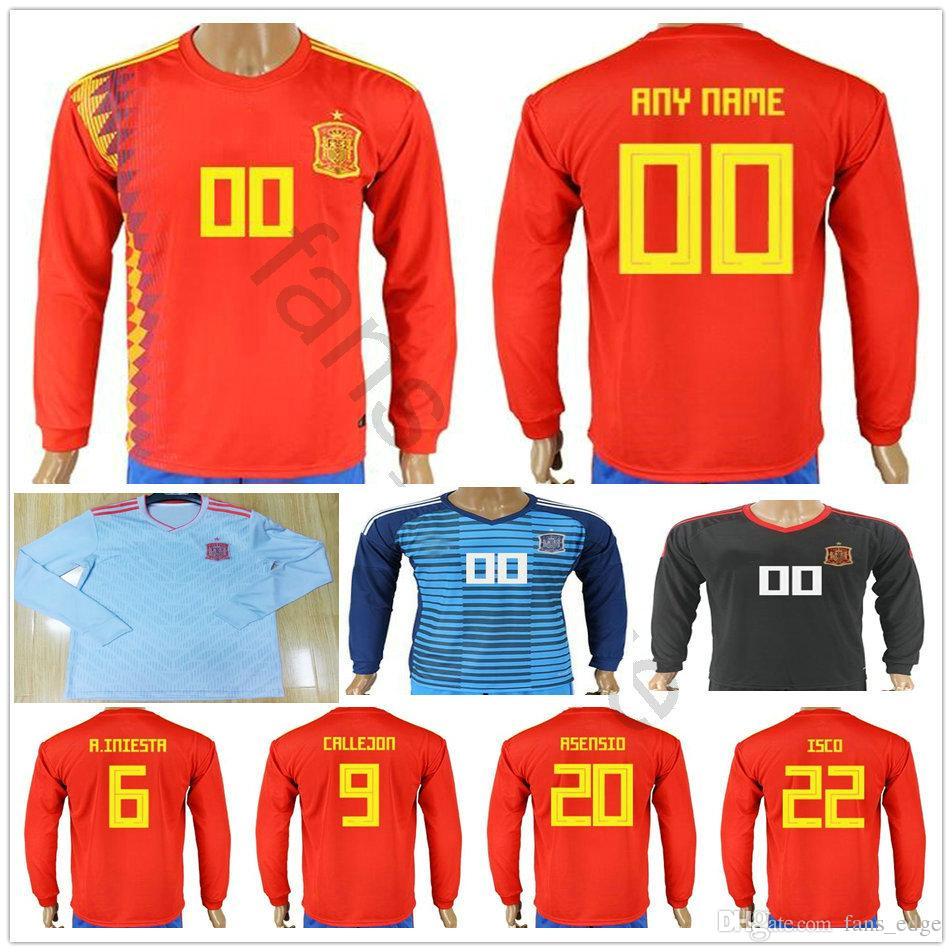 54bb51f6c 2019 2018 World Cup Spain Long Sleeve Soccer Jerseys 6 A. INIESTA 9  CALLEJON 20 ASENSIO ISCO SERGIO RAMOS PIQUE Red Grey Football Shirt From  Fans edge