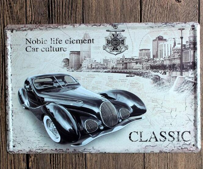 Vintage Car Tin Signs Wall Art Retro Route 66 Tin Sign Old Wall Metal Painting Art Bar Pub Coffee Restaurant Home Decoration 666