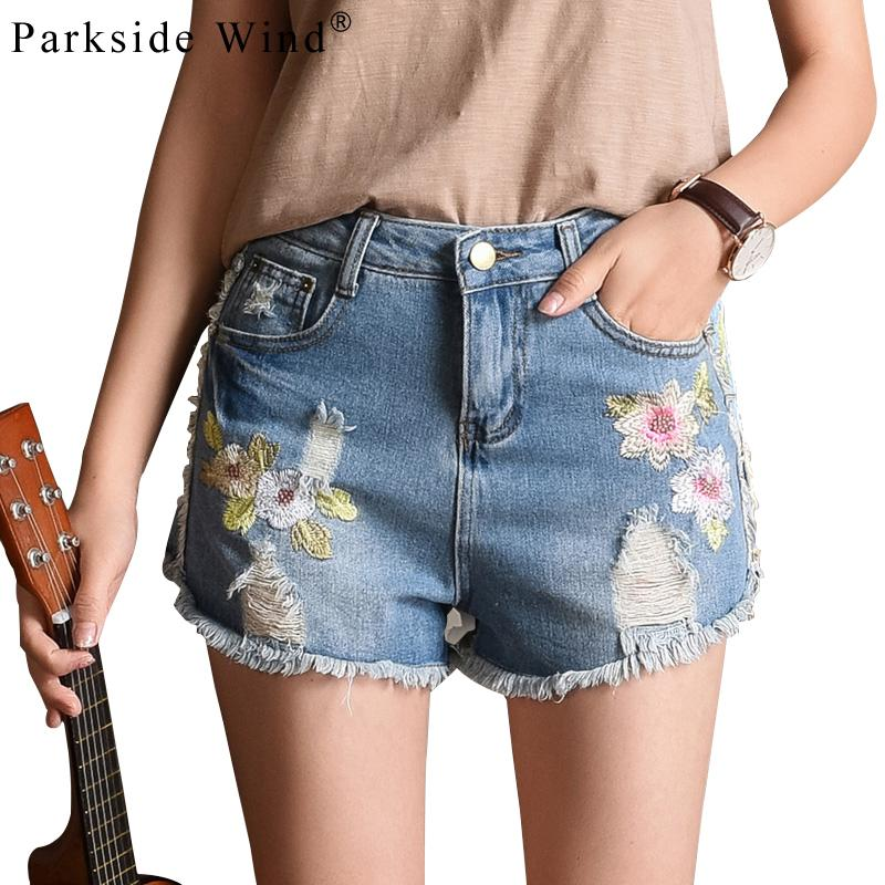 PARKSIDE WIND Women Blue Short Denim Jeans Floral Embroidery Chic Shorts Female Distress Hole Destoryed Ladies Shorts KWC0098-45