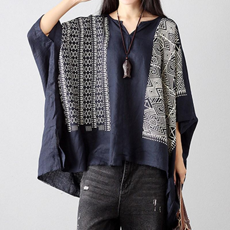 73f417b7a31 2019 Oversized Women Blouses Print Casual Batwing Sleeve V Neck Asymmetric  Loose Shirts Vintage Retro Female Robes Summer Boho Tops From Longmian