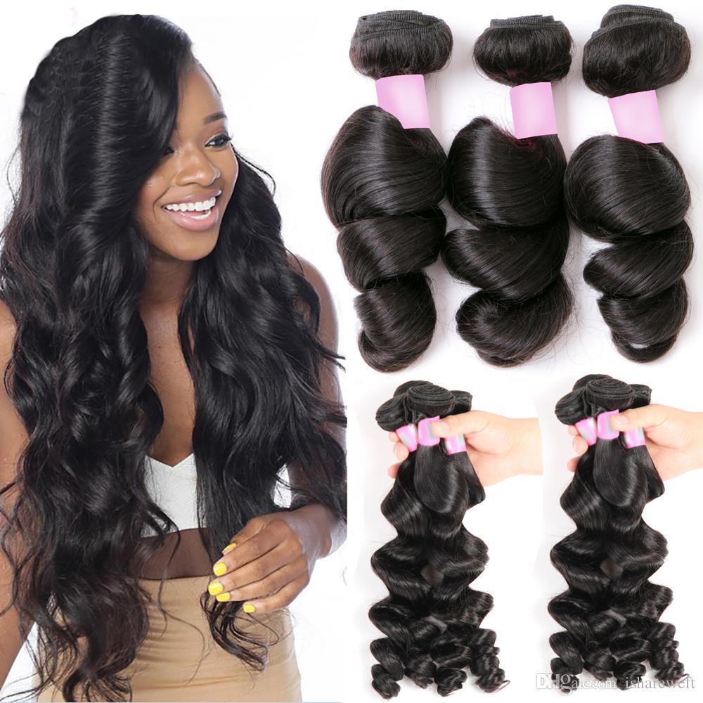 Brazilian Loose Wave 7a Virgin Hair Bundles Unprocessed Remy Human