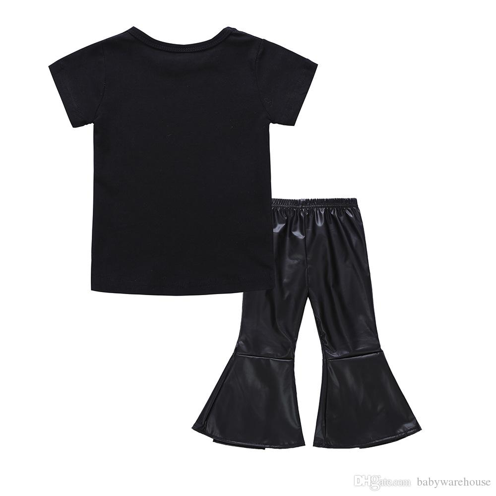 Fashion 2018 Baby Girls Clothing Sets Kids Girl Short Sleeve Letter Print T shirt Tops + Black Leather Flare Pants Boutique Girls Suit 1-5T