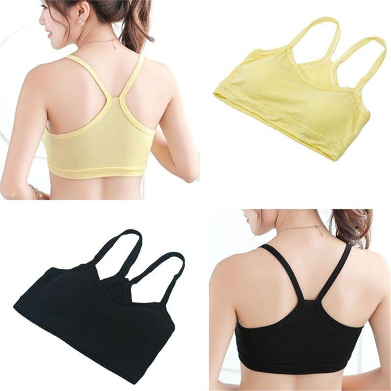 Lady Women Solid Strap Underwear Without Chest Pad Cotton Yoga Bra Vest Crop Top Sports Bra