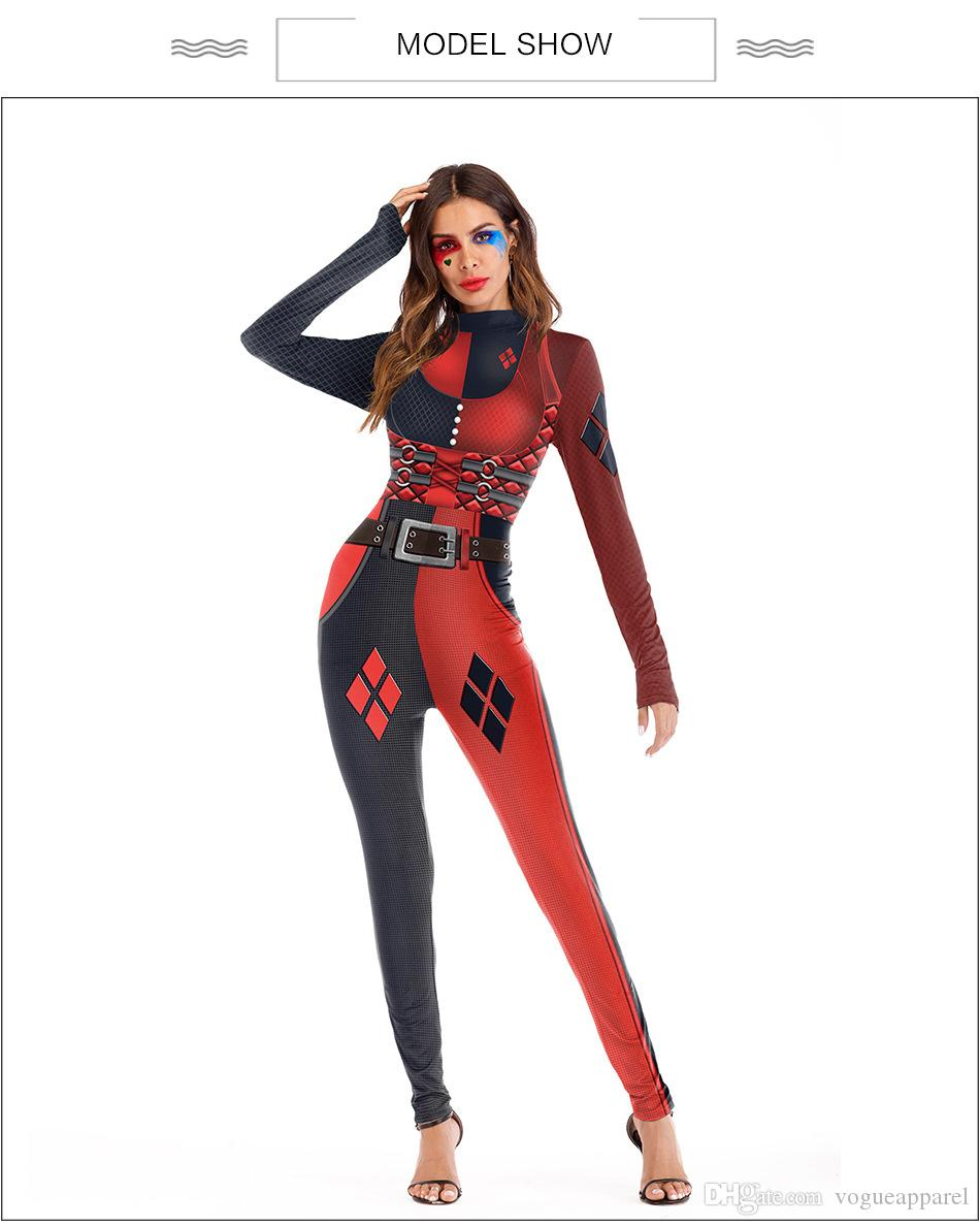 2019 Women Clothing Halloween Costume Jumpsuit Harley Quinn Cosplay Body  Suit Red Sexy Skinny Jumpsuit From Vogueapparel, $30.38 | DHgate.Com