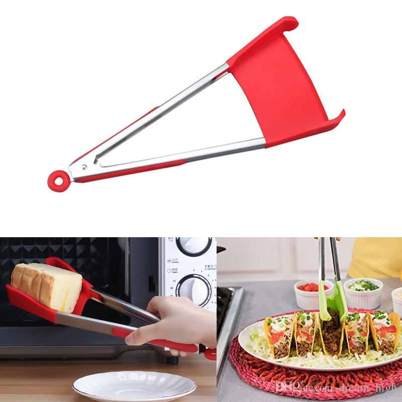 Clever Tongs 2-in-1 Kitchen Spatula Tongs Clever Tong Non-stick Heat  Resistant Kitchen Helper Tool Silicone Frame Kitchen Tongs