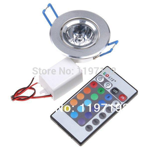 3W RGB LED Recessed Ceiling Down Light Change LED colorful Lamp Downlight Remote Controller for decoration