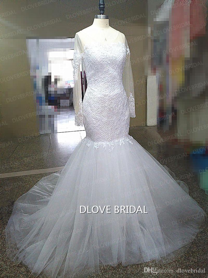 Nuovo arrivo romantico pizzo tulle sirena abiti da sposa con maniche lunghe illusione vedere attraverso abito da sposa sexy vestido de novia foto reale