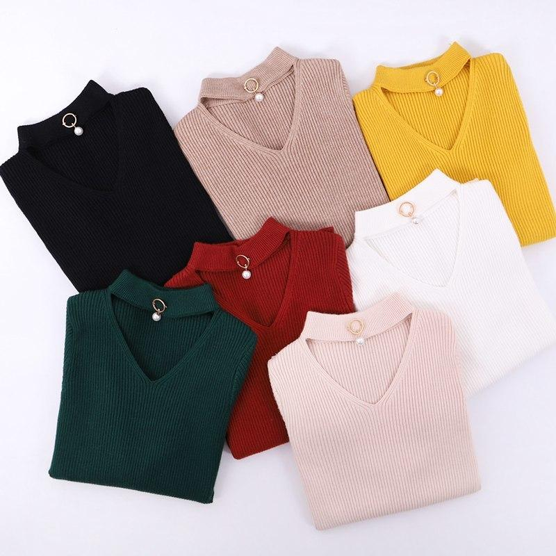 0b87aec10fcc 2019 GIGOGOU V Neck Autumn Winter Pullover And Women Knitted Long ...