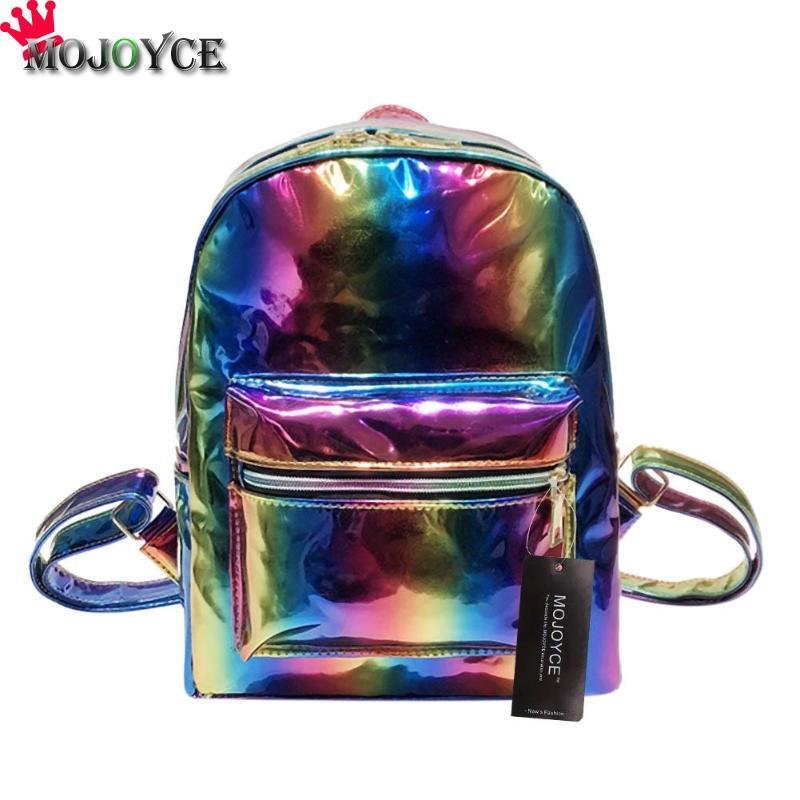 9bf170458319 Uggage Bags Backpacks 2018 New Fashion Sequins Backpack Rainbow Hologram  Laser Women Lady Leather Zipper School Shoulder Bags Embroidered.