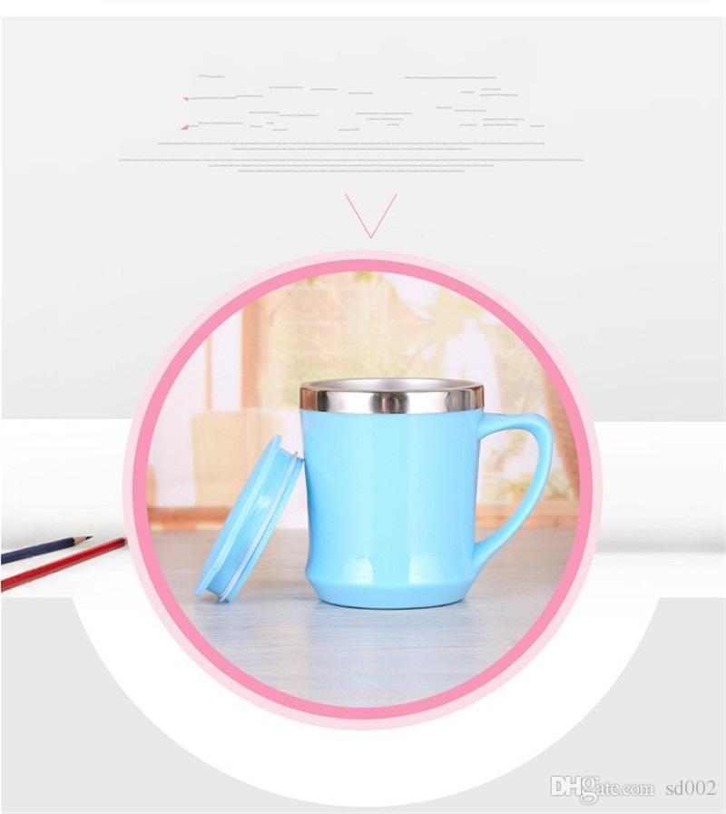 Auto Copo de Aço Inoxidável Exterior Caneca de Plástico Copo de Água Presente de Escritório Rosa Azul Com Tampa do Punho Não Antiderrapante Moda 5 3tr V