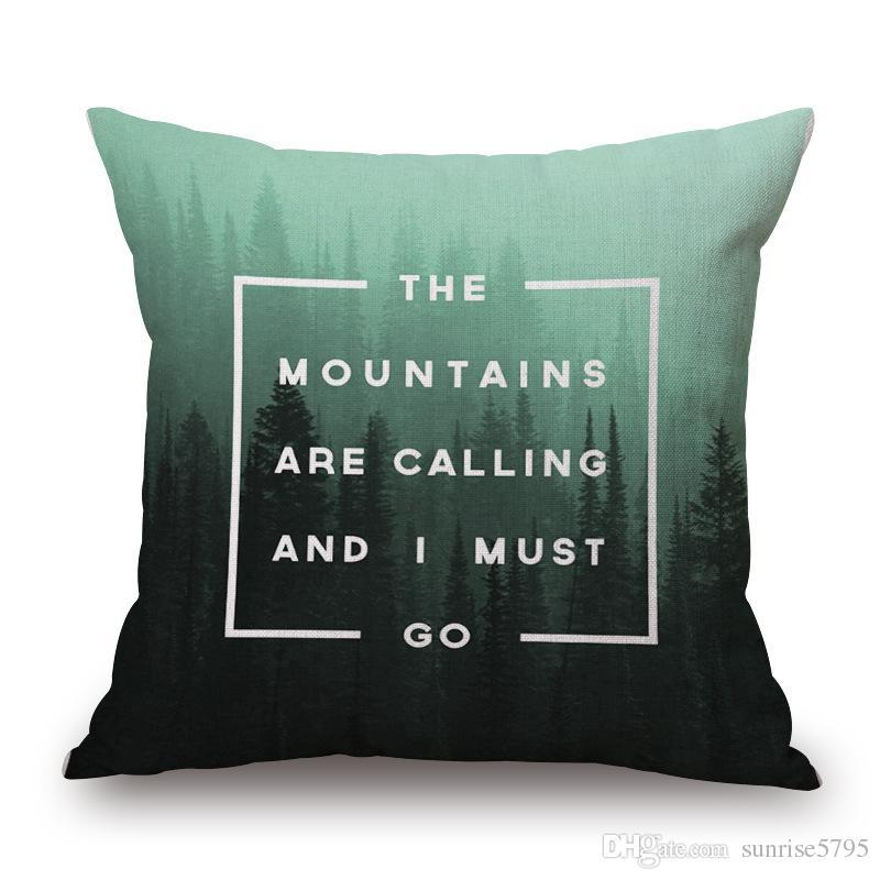 citations nordiques housse de coussin décoratifs oreillers vintage cas géométrique et paysages cojines forêt de montagne mer almofada