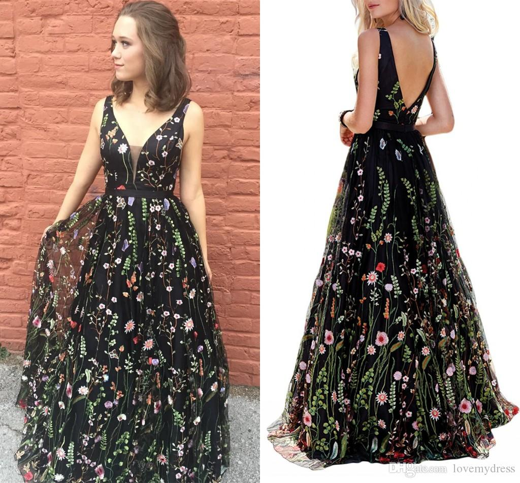 Sexy Black 3d Floral Flowers Prom Dress 2019 New Deep V Neck Open