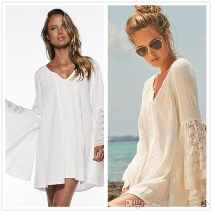 a8834cc37ed Women Vintage Hippie Beach Boho Bell Sleeves Gypsy Festival Holiday Lace  Mini Dress M224 Clothing Dress Cocktail Dress Party From Daimengma123