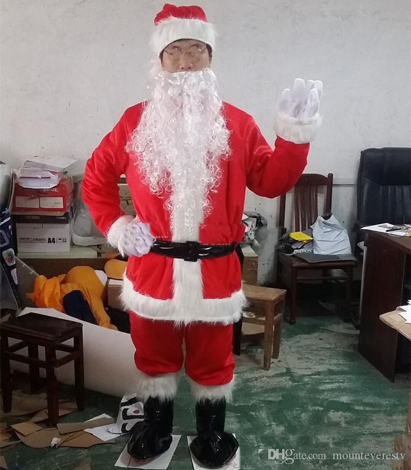 Factory direct sale Christmas Santa Claus Costumes Set 9pcs full body suit Mascot Costume