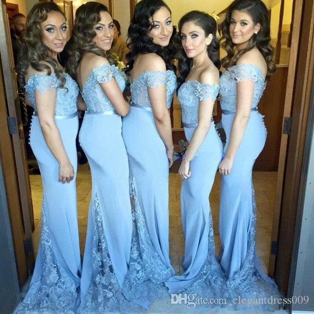 Ice Blue 2018 Nuovo Design Sirena Abiti da damigella d'onore Satin Off Shoulder Pieghe Maid Of Honor Wedding Party Guest Dress economici Abiti formali