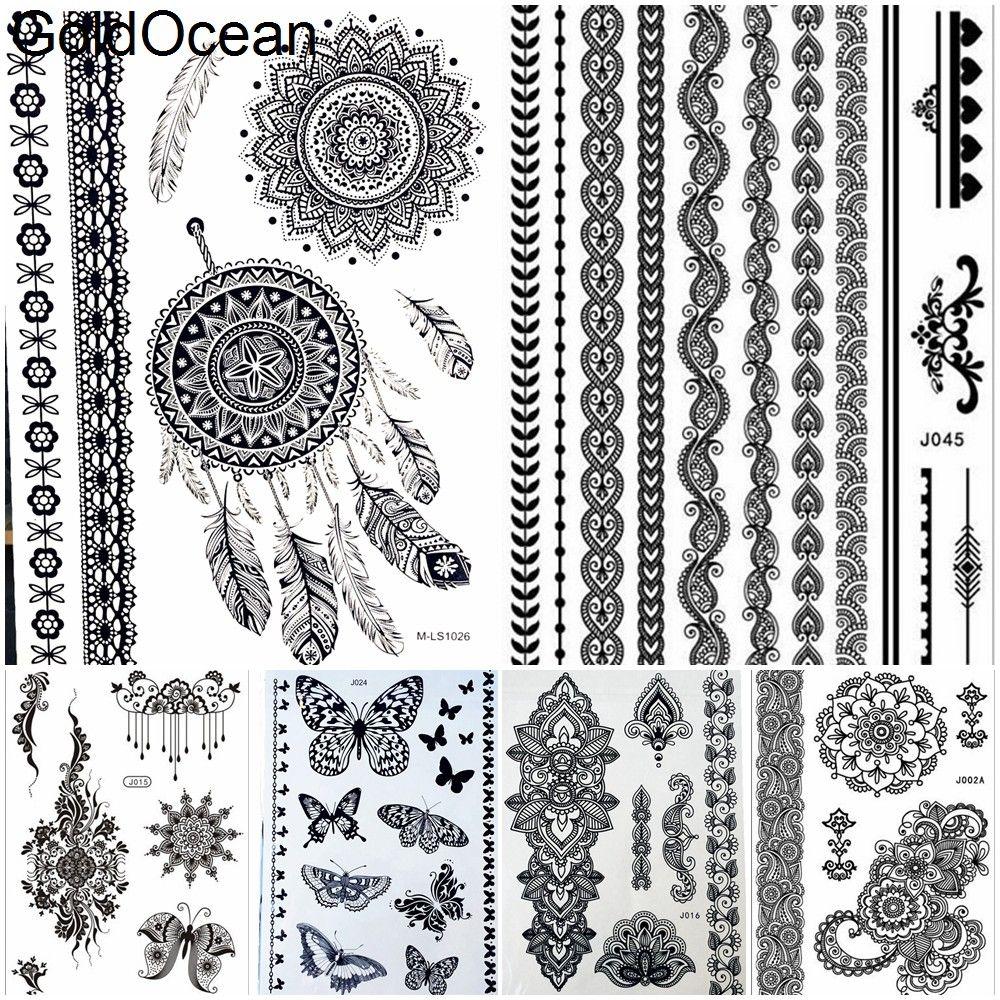 Grosshandel Dreamcatcher Black Mandala Henna Tattoo Madchen Arm