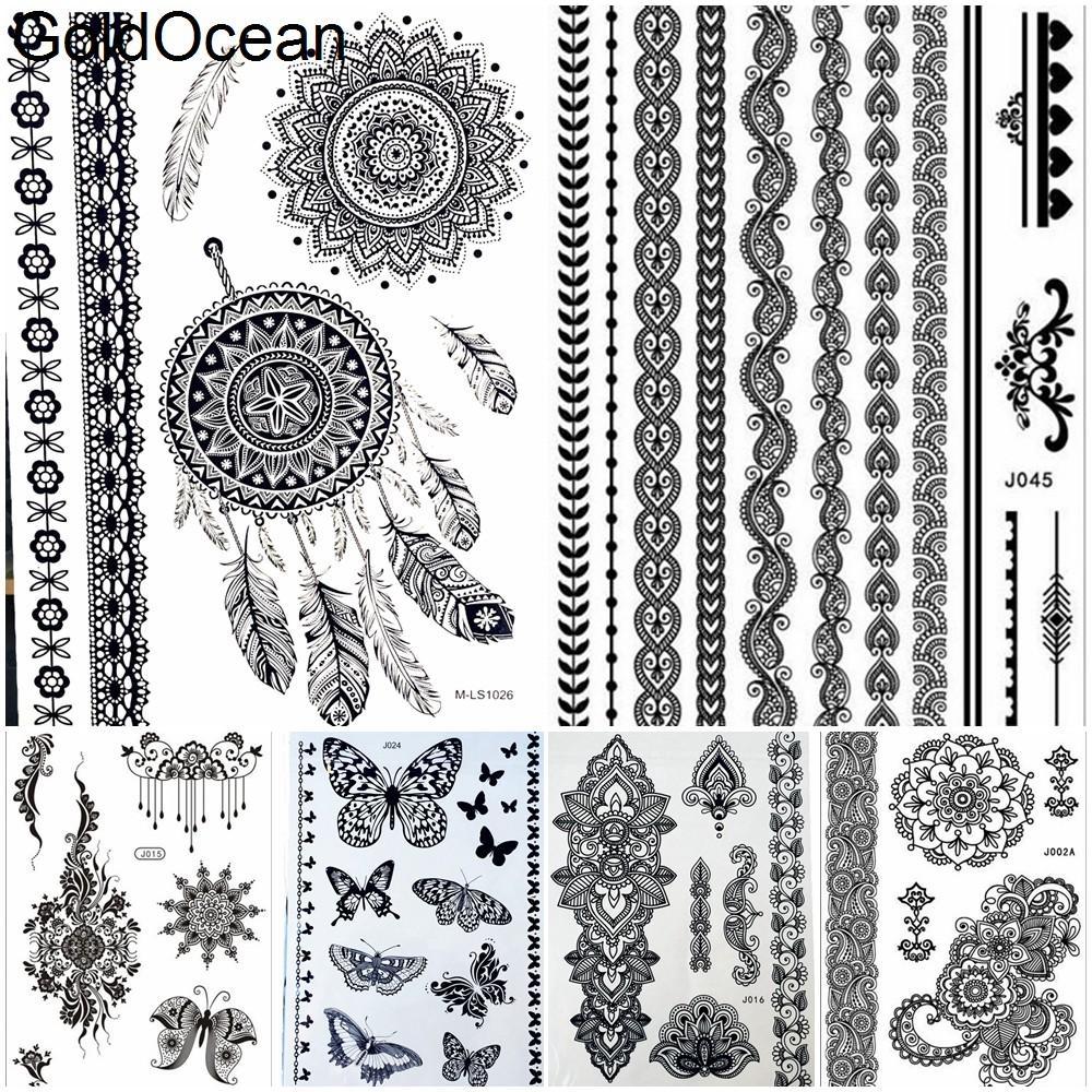 acheter dreamcatcher noir mandala henna temporaire tatouage fille