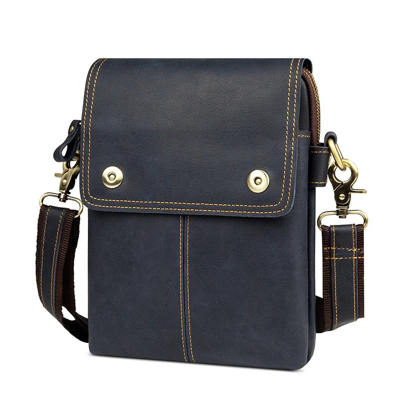 2e6532d7e4 Augus Genuine Leather Multi Pocket Cross Body Purse Bag Shoulder Bag Dark  Blue Color Portable For Men 1006K Vintage Handbags Black Purses From  Kingless