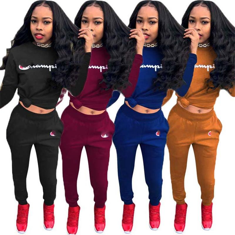 7b1e04e70d6e Fashion Women Hoodie + Pants Tracksuit Champions Letter Pullover Joggers  Outfit Brand Sportswear Casual Sports Suit Street Clothing Online with  $20.58/Piece ...