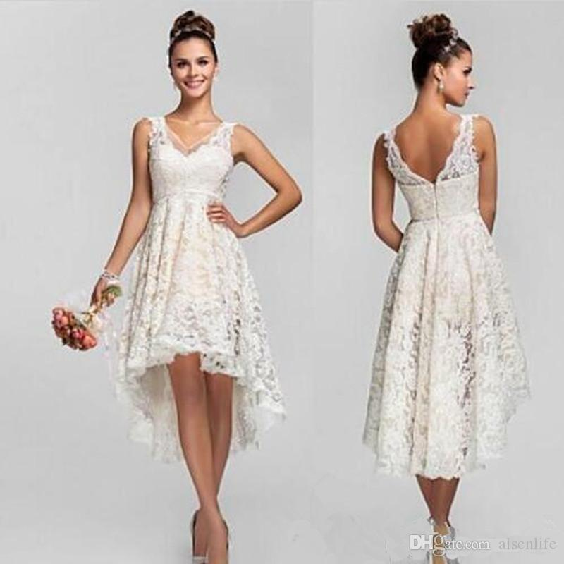 Discount Boho Wedding Dresses High Low Lace Bridal Gowns V Neck ...