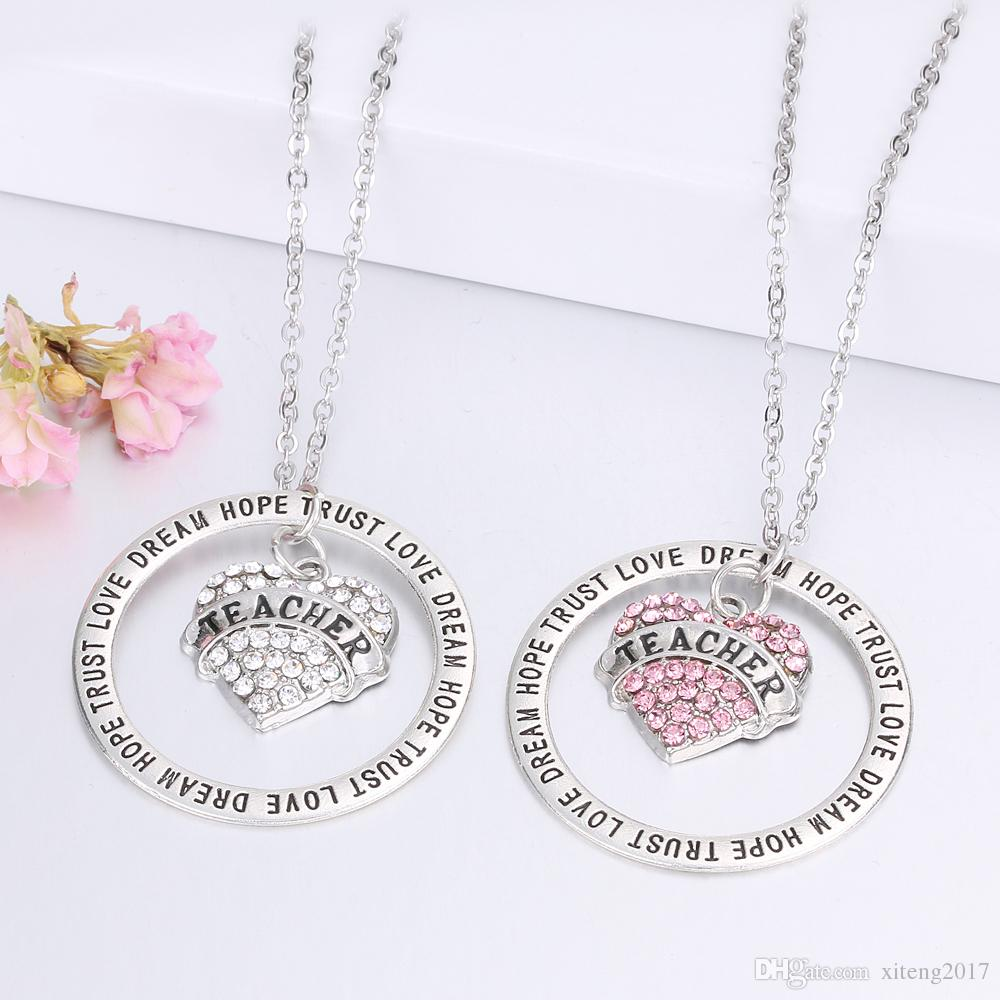 Engraved English Letter Mom Daughter Necklace Mom Necklace Teacher's Necklace Heart Diamond Sister Charm Forever In Heart Pendant