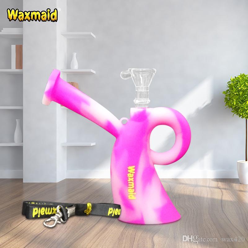 Cam Bong Dab Rig Waxmaid Bayan Mini Kırılmaz Silikon Su Borusu Bong Sigara Nargile Kordon ile Balmumu Yağı Kuru Ot için