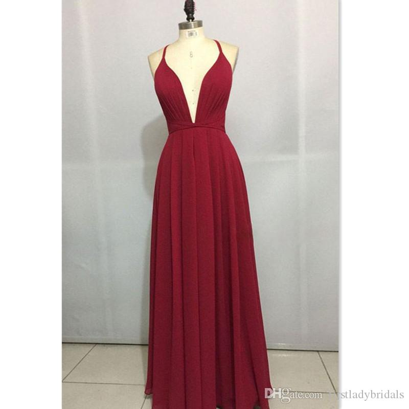 b087da940c7f 2018 Sexy New Deep V Neck Prom Dresses Burgundy Chiffon A Line Spaghetti  Straps Backless Long Floor Length Simple Cheap Evening Party Gowns Long  Sleeve Prom ...