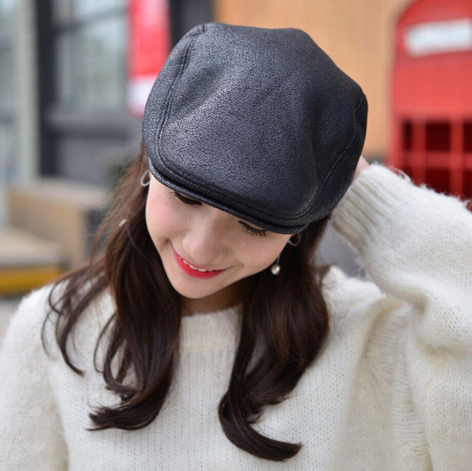 2019 Cowhide Leather Wool Newsboy Cap Middle Aged And Old Man Vintage Flat  Cap Ear Protection Beret Hat 56 58CM From Qiuyeluo 68e98a4a5ef