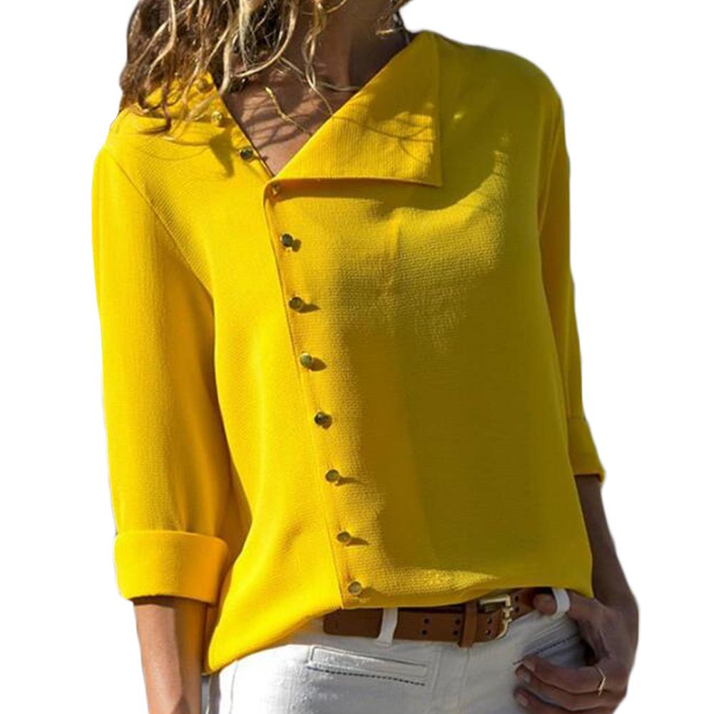 21c40e0e 2019 2018 Summer Tops Button Irregular Blouse Women Yellow Long Sleeve  Oblique Collar Shirt Female Elegant Autumn Casual Office Tops From Aprili,  ...