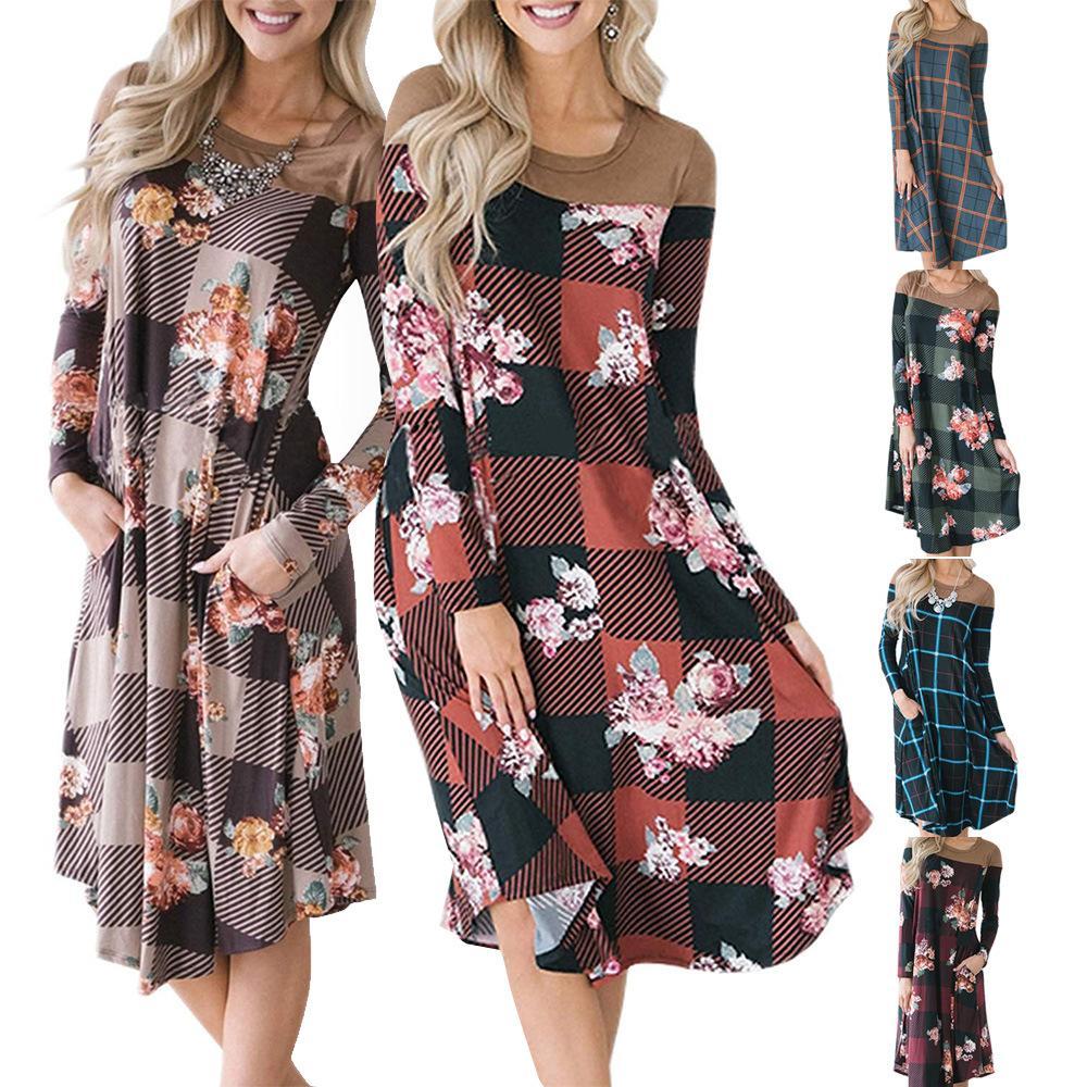 c61165f9c Compre Las Mujeres De Manga Larga Vestidos Sueltos Cuello Redondo A Cuadros  Flor Impreso Vestido Casual Costura Fiesta De Bolsillo Una Línea De Vestido  De ...