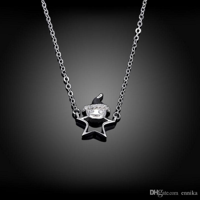 Sterling Silver 925 Necklace Lady Party Jewelry Pure Silver Christmas Man Pendant Necklace Zircon n071