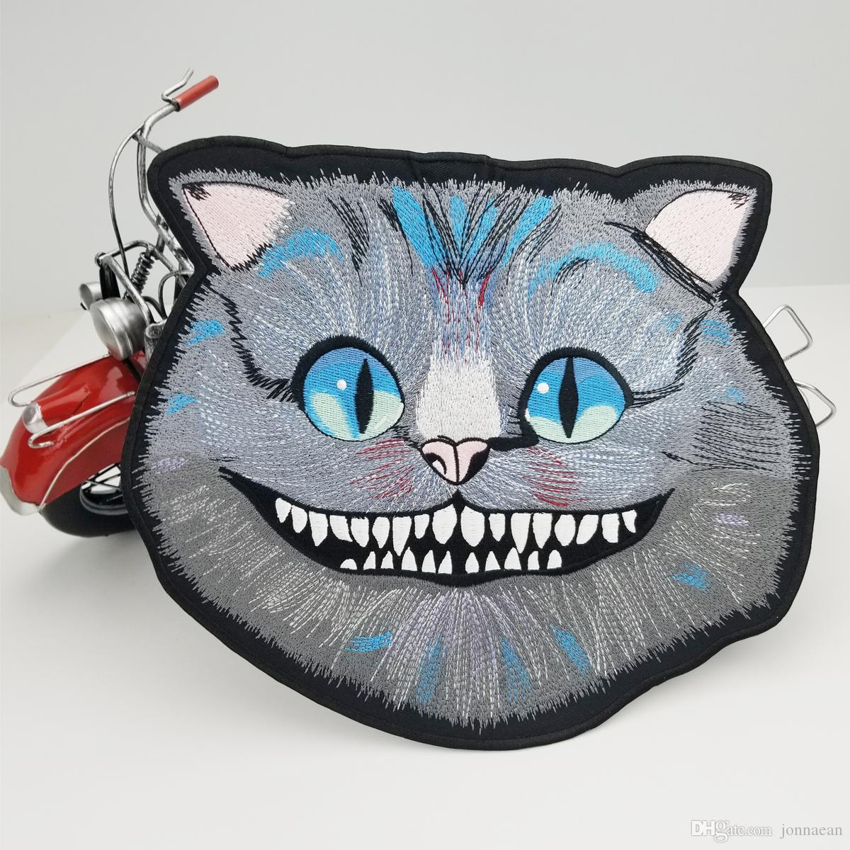 Cheshire Cat Large Embroidered Patch Iron On Big Size for Full Back of Jacket Rider Biker Patch