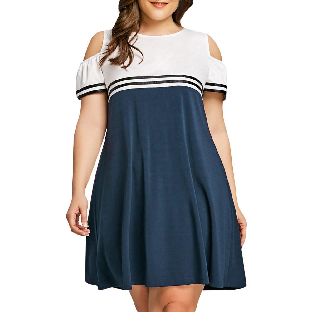 Large Size Women Off Shoulder Short Sleeve Mini Dress Elegant Ladies Loose  Evening Party Dress Plus Size Vestidos De Festa Sundresses Shift Dress From  ... 1b200ce4aa6d