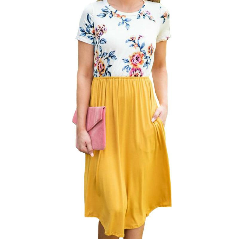 b7710544552f Women Summer Printed Floral Dress 2018 Female Knee Length A Line Dresses  Robe Plus Size Beach Boho Sundress Short Sleeve GV229 Long Sleeve Short  Dresses For ...