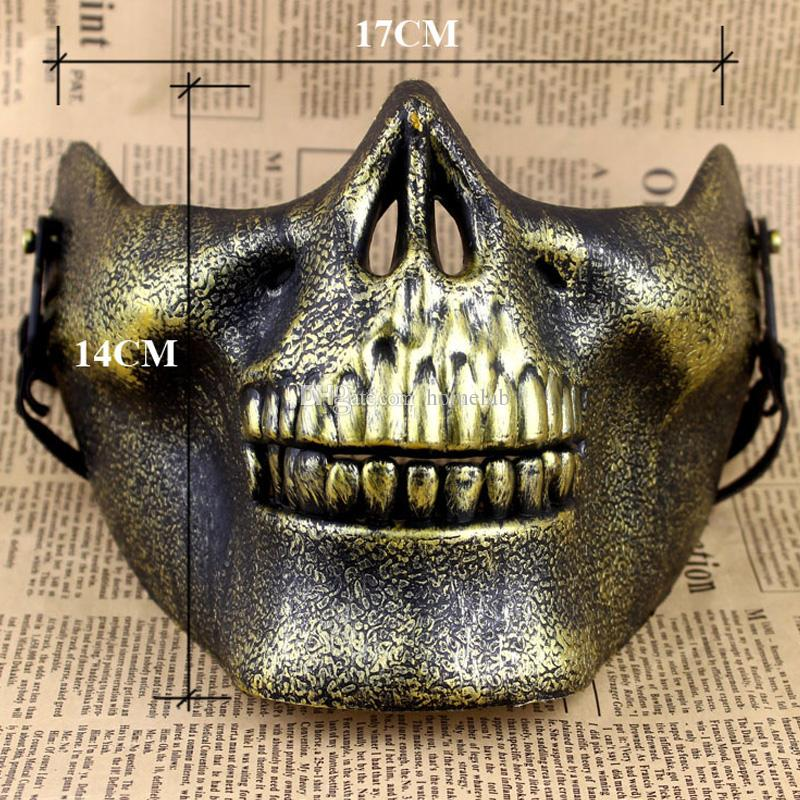 CS Mask Carnival Gift Scary Skull Skeleton Paintball Lower Half Face facemask warriors Protective Mask For Halloween Party Masks