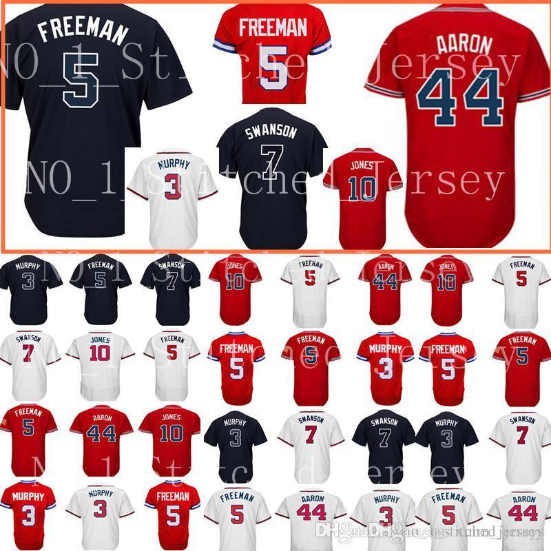dd13ede32 Atlanta  5 Freddie Freeman jersey Men s 44 Hank Aaron 10 Chipper Jones  Baseball jerseys Cheap wholesale Free Shipping