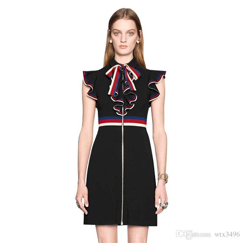 2019 Summer Runway Dresses Women 2018 High Quality Black Brief Dress Ruffle  Patchwork Hit Color Brand Designer Vestidos From Wtx3496 0a1bfb6cdabf