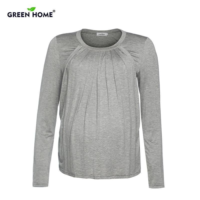 398f6a01ed2 2019 Green Home Solid Pregnancy Nursing Tops Long Sleeves Maternity Shirt  For Pregnant Women Cotton Drape Tees Clothing For Feeding From Benedicty,  ...
