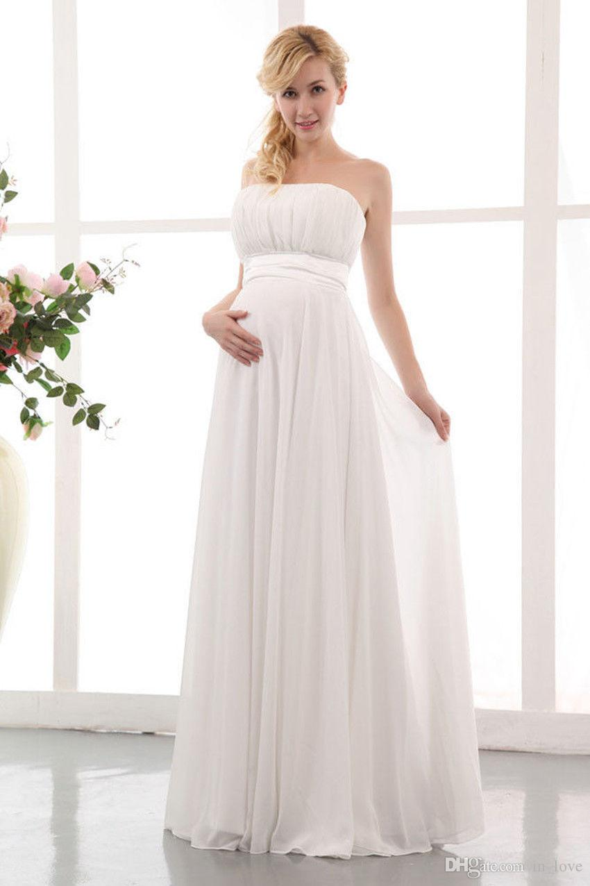 Elegant Chiffon Maternity Wedding Dress Strapless Floor Length