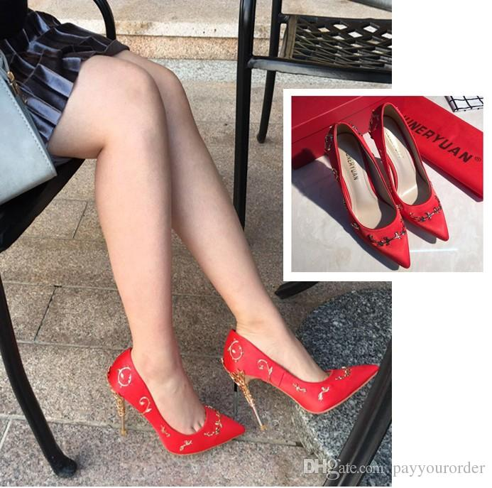42fd27803 blue black light grey Champagne white color girl's high heel sexy silk party  wedding bridal shoes pointed toe pump 399