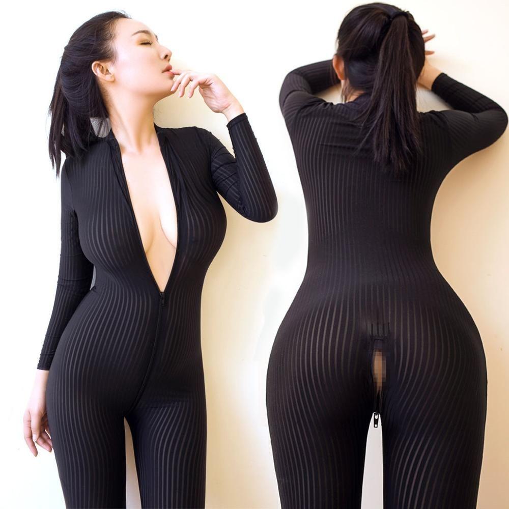 2019 Dame Black Striped Sheer Bodysuit Smooth Fiber 2 Zipper Long Sleeve  Jumpsuit From Donahua 4407bb596